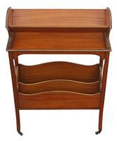 Victorian 19th Century Satin Walnut Bookcase / Book Trough (2 of 6)