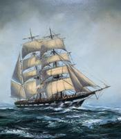 Large Beautiful Mid-Century Full-Masted Ship in Rough Seas Seascape Oil Painting (4 of 12)