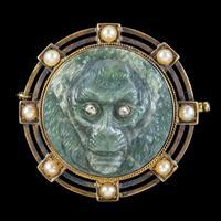 Antique Victorian Labradorite Monkey Brooch Diamond Pearl 18ct Gold c.1860