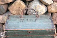 Scandinavian / Swedish 'Folk Art' Small blue-black orginal paint, Hälsingland table chest box 1814 (16 of 25)
