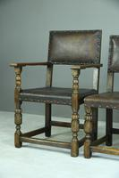 6 Cromwellian Style Brown Leather Dining Chairs (4 of 12)