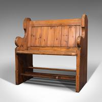 Antique Love Seat, English, Pine, Bench, Pew, Ecclesiastic Taste, Victorian (3 of 12)