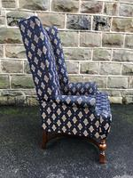 Antique English Walnut High Back Wing Armchair (5 of 8)