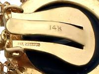 1.40ct Diamond & Onyx, 14ct Yellow Gold Drop Earrings - Art Deco Style - Vintage c.1950 (6 of 9)