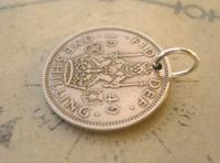 Vintage Pocket Watch Chain Fob 1949 Lucky Silver One Shilling 5d Old Coin Fob (3 of 6)