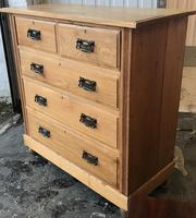 Arts And Crafts Glasgow Style antique 2 over 3 Chest of Drawers in Blond Oak (2 of 8)