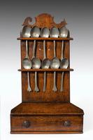 George III Period Oak & Pewter Spoon Rack (5 of 8)