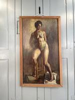 Antique Nude Oil Painting Portrait of Seated Figure by Alys Woodman RBSA