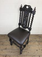 Antique 19th Century Carved Chair with Leather Seat (M-193) (4 of 14)