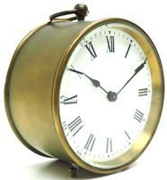 French Drum Carriage Clock Rare Enamel Dial Drum Case Mantel Clock Platform Balance (8 of 8)