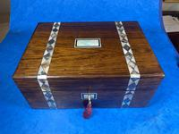 Victorian Rosewood Jewellery Box  With Inlay (11 of 15)