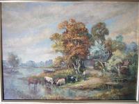 M J Rendell:  Mid 20th Century Oil on Board - Cattle Watering in Rural Landscape (2 of 7)