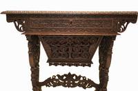 Antique Burmese Work Box - Desk Writing Table 1890 Hardwood (3 of 13)
