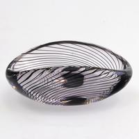 Mid Century Vicke Lindstrand Kosta Glass Bowl with Purple Spiral c.1950 (6 of 9)