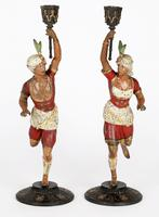 Pair of Continental, Probably French, Cold Painted Metal Figural Candlesticks (25 of 27)
