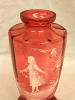 Antique Large Mary Gregory Cranberry Vase (8 of 8)
