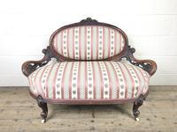 Small Victorian Walnut Frame Salon Sofa Settee
