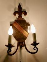 Pair of Wrought Iron Heraldic Shield Shaped Girandole Wall Mirrors (4 of 7)