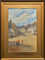 Large Original Edwardian Antique Yorkshire Hamlet Landscape Watercolour Painting