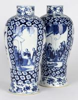 Chinese Pair of Large Blue & White Panel Vases with Figures Qing Dynasty (4 of 25)