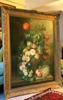 Dutch Manner Still Life Flower & Fruit Oil Painting On Canvas