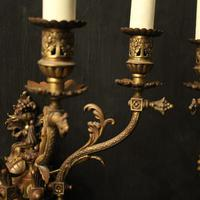 English Pair of Bronze Antique Gasoliers (7 of 10)