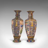 Pair Of Tall Antique Satsuma Vases, Japanese, Ceramic, Decorative, Moriage, 1900 (6 of 12)