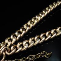 Antique Heart Padlock Fancy Curb 9ct 9K Gold Bracelet (6 of 9)