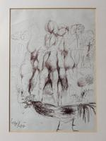 Original Ink Drawing 'Group of Nudes, Rooster & Dandelion' Signed & Dated 1967 (3 of 6)