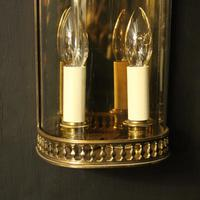 French Pair of Brass Antique Half Wall lanterns (4 of 10)