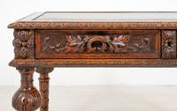 Victorian Carved Oak Writing Table (4 of 8)