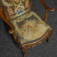 Victorian Carved Rosewood Armchair with Tapestry Upholstery (10 of 13)