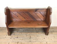 Antique Pitch Pine Church Pew with Enamel Number 35 (3 of 12)