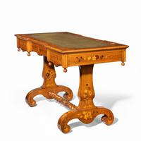 Victorian Walnut Marquetry Writing Table attributed to Edward Holmes Baldock (9 of 17)