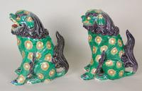 Superb Pair of 19th Century Chinese Porcelain Dogs of Fo Temple Guardians (4 of 12)