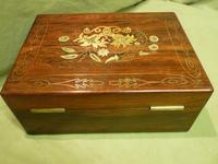 Beautifully Inlaid Rosewood Jewellery Box. Unusual Interior c.1865 (9 of 14)