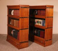 Pair Of Low Stacking Bookcases In Light Oak Globe Werknicke Late 19th Century (4 of 10)