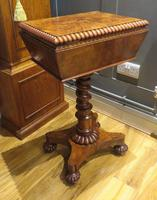 Exceptional Tea Poy Tea Caddy on Stand Burr Walnut (4 of 7)