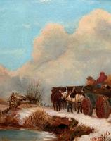 'The Loggers Return Home' Superb Antique Winter Landscape Oil on Canvas Painting (6 of 12)
