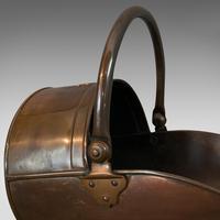 Antique Coal Scuttle, English, Copper, Brass, Fireside Bin, Victorian c.1900 (6 of 9)
