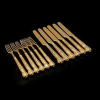 Antique Victorian Solid Silver Gilt Fruit / Dessert Knives & Forks Set of Six in Queens Pattern - Aaron Hadfield 1839 (14 of 32)
