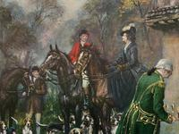 ''Before The Hunt'' Wonderful Large Vintage 18th Century Style Print on Board Picture (8 of 12)