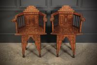 Pair of Damascus Syrian Moorish Inlaid Armchairs (5 of 17)