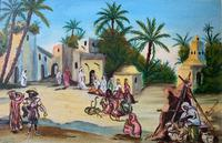 The Snake Charmer - Moroccan School - Vintage - 1960s - Original Oil Painting (2 of 11)
