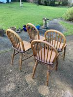 Set of Four Early 20thc Ash & Beach Kitchen Chairs (4 of 6)