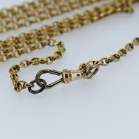 """Antique Victorian Long 18ct Rolled Gold Guard Muff Chain Necklace 54"""" Length (6 of 7)"""
