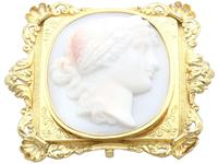 Carved Hardstone & 18ct Yellow Gold Cameo Brooch - Antique c.1860 (3 of 9)