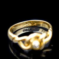 Antique Old Cut Diamond Lovers Knot 18ct 18k Yellow Gold Ring Band (10 of 10)