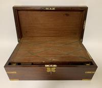 Antique Mahogany Brass Bound Campaign Writing Slope Box (5 of 17)