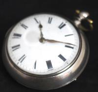 Antique Silver Pair Case Pocket Watch Fusee Verge Escapement Key Wind Enamel J Crainbrook (5 of 10)
